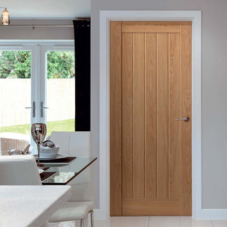Image: J B Kind Laminates Hudson Oak Coloured Door - Prefinished
