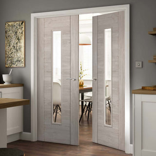 Image: J B Kind Laminates Alabama Fumo Smoky Grey Coloured Door Pair - Clear Glass - Prefinished
