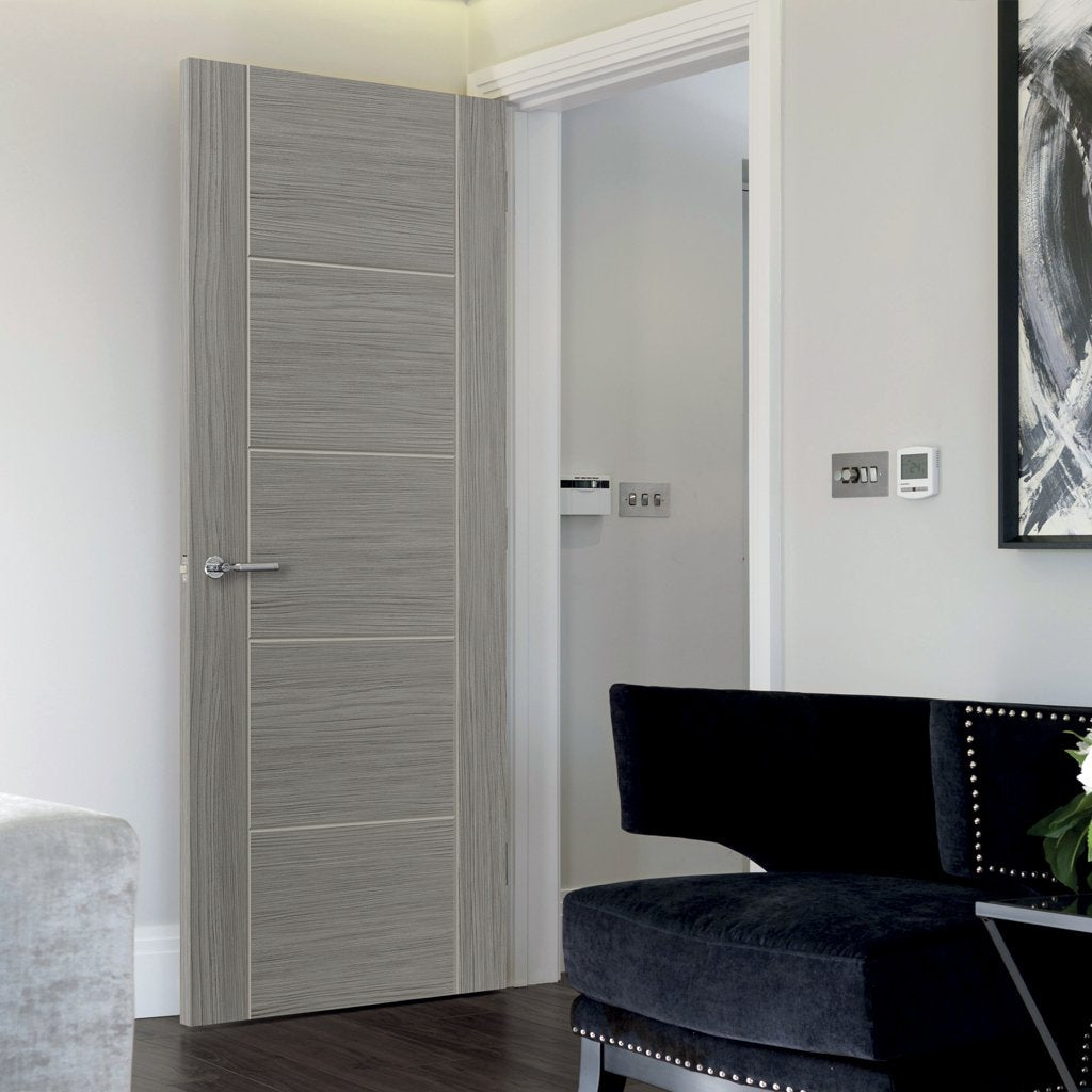 Modern interior grey door