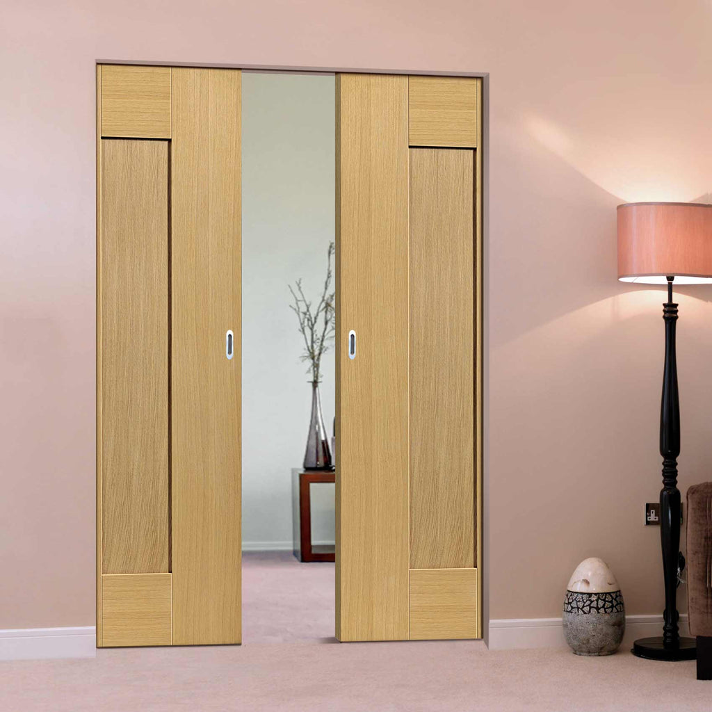 Axis Shaker Oak Panelled Absolute Evokit Double Pocket Doors - Prefinished