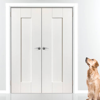 Image: J B Kind Axis White Primed Panel Door Pair