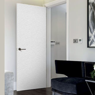 Image: J B Kind White Contemporary Ripple Textured Flush Door