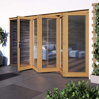 Image: JELDWEN Kinsley Golden Oak 5+0 Folding Patio Doorset - Clear Double Glazing - Stained