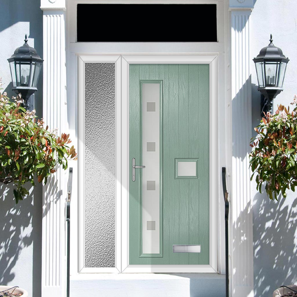 Cottage Style Jowett 2 Composite Door Set with Single Side Screen - Hnd Ellie Glass - Shown in Chartwell Green