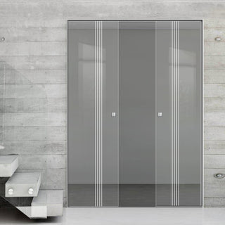Image: Juniper 8mm Clear Glass - Obscure Printed Design - Double Absolute Pocket Door