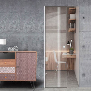 Image: Juniper 8mm Clear Glass - Obscure Printed Design - Single Absolute Pocket Door