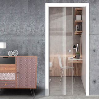Image: Juniper 8mm Clear Glass - Obscure Printed Design - Single Evokit Glass Pocket Door