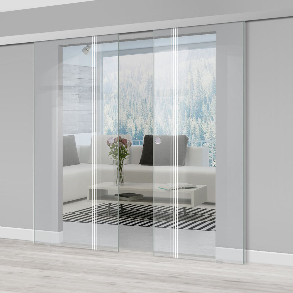 Double Glass Sliding Door - Juniper 8mm Clear Glass - Obscure Printed Design - Planeo 60 Pro Kit