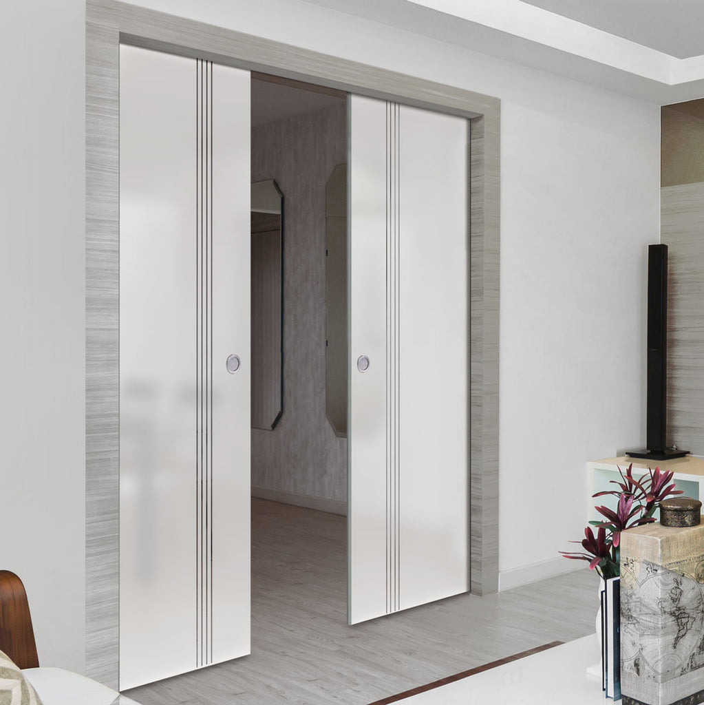 Juniper 8mm Obscure Glass - Clear Printed Design - Double Evokit Pocket Door
