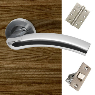 Image: Jupiter Door Handle Pack - Polished Chrome - Satin Nickel