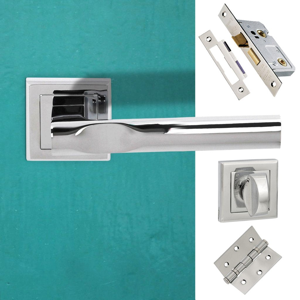 Kansas Status Bathroom Lever on Square Rose - Polished Chrome Handle Pack