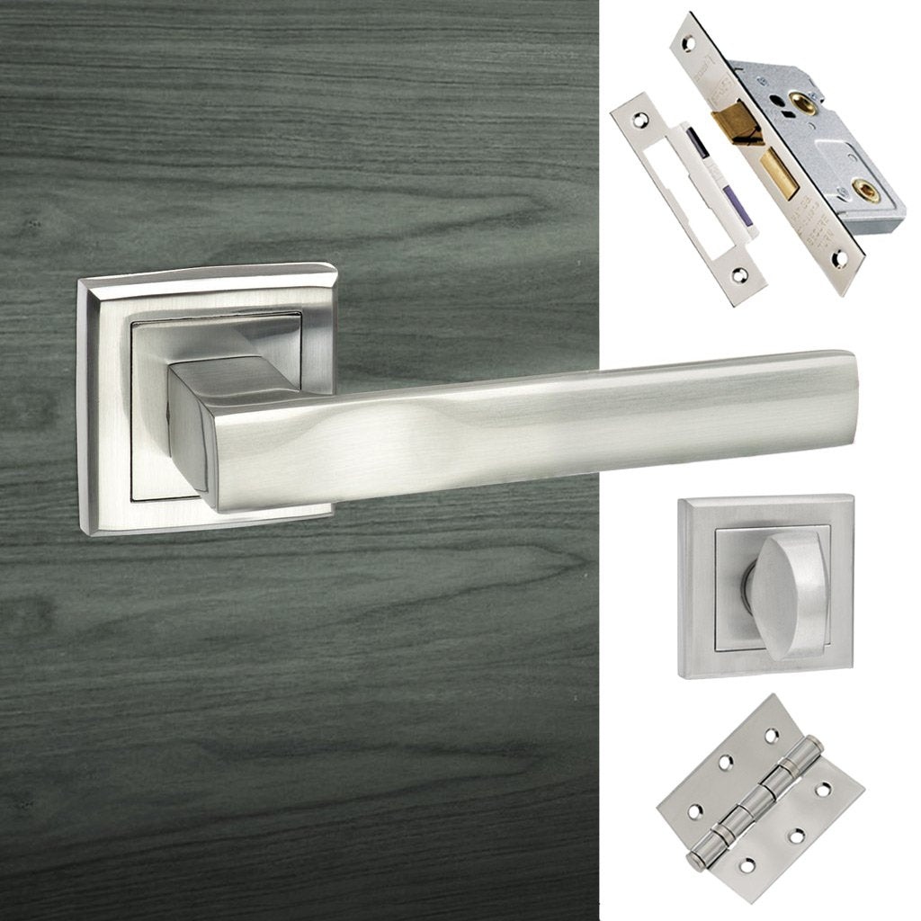 Kansas Status Bathroom Lever on Square Rose - Satin Chrome Handle Pack