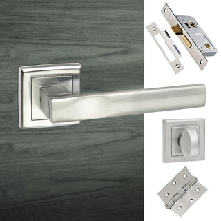 Image: Kansas Status Bathroom Lever on Square Rose - Satin Chrome Handle Pack