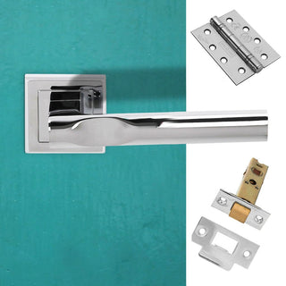 Image: Kansas Status Fire Lever on Square Rose - Polished Chrome Handle Pack
