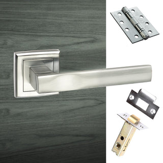 Image: Kansas Status Fire Lever on Square Rose - Satin Chrome Handle Pack