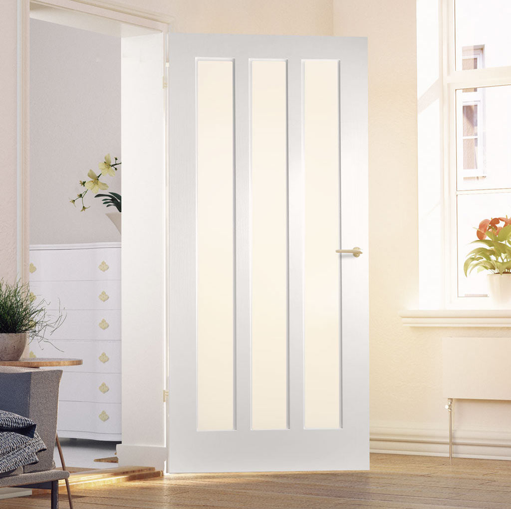 Kielder Lightly Grained PVC Door - Obscure Glass