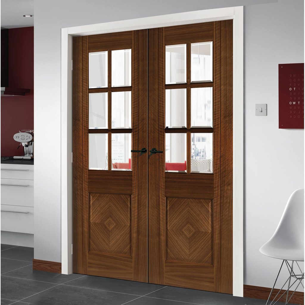 Kensington Walnut Prefinished Door Pair - Clear Bevelled Glass