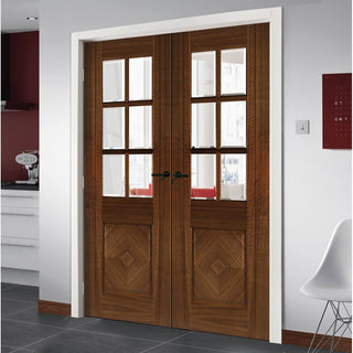 Image: Kensington Walnut Prefinished Door Pair - Clear Bevelled Glass