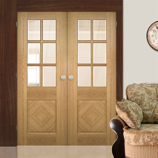 Image: Kensington Oak Panel Door Pair - Clear Bevelled Glass - Prefinished