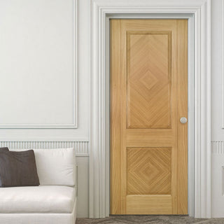 Image: Kensington Oak Panel Fire Door - 1/2 Hour Fire Rated - Prefinished