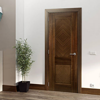 Image: Kensington Walnut Prefinished Fire Door - 2 Panels - 1/2 Hour Fire Rated