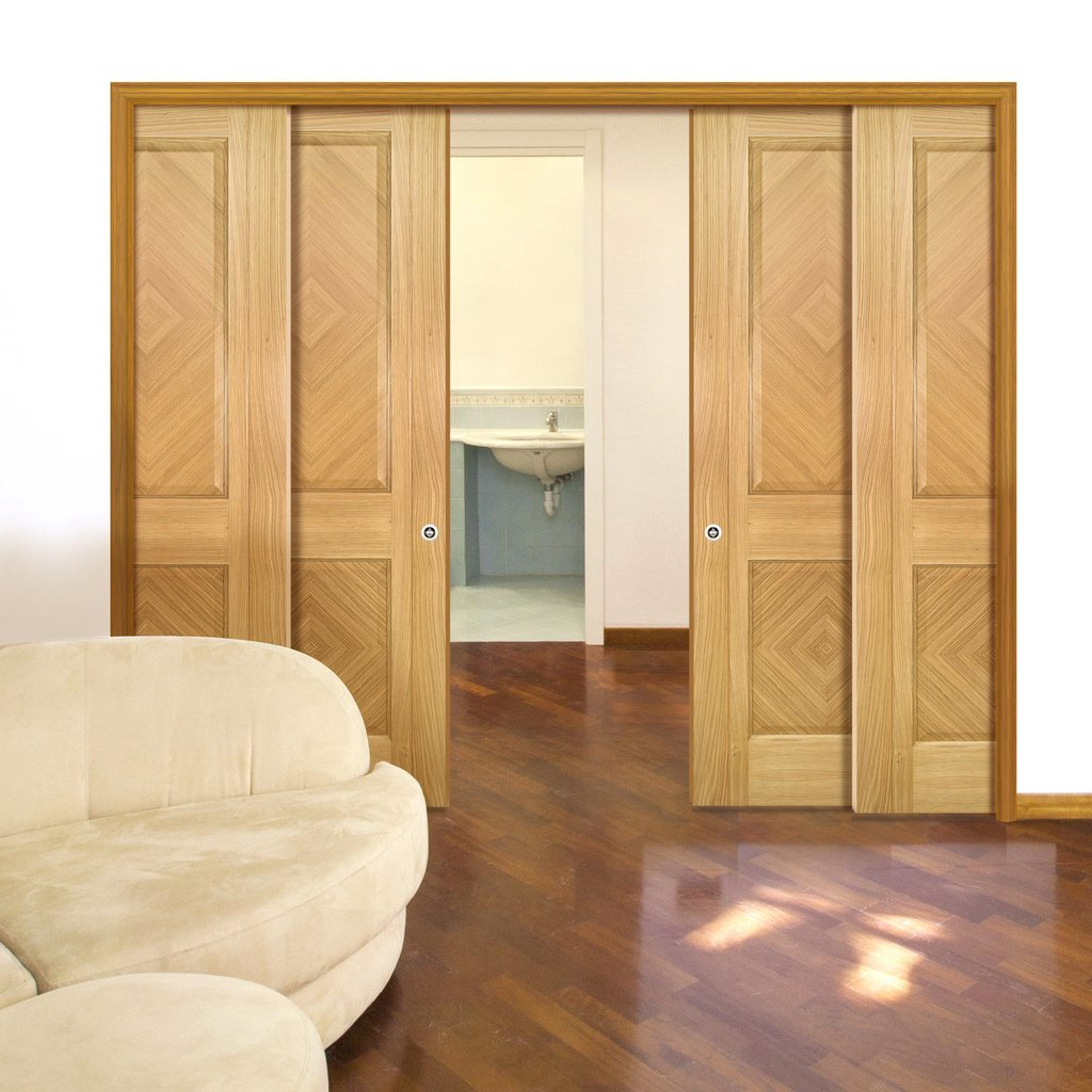 Kensington Oak Panel Staffetta Quad Telescopic Pocket Doors - Prefinished