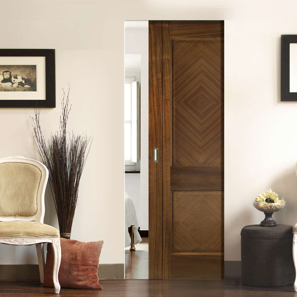 Kensington Walnut Absolute Evokit Single Pocket Door - Prefinished