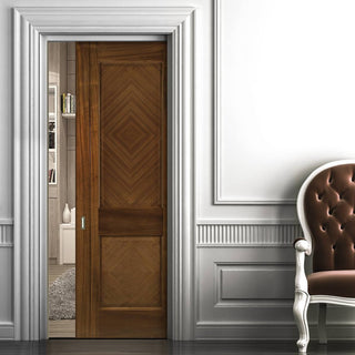 Image: Kensington Walnut Single Evokit Pocket Door - Prefinished