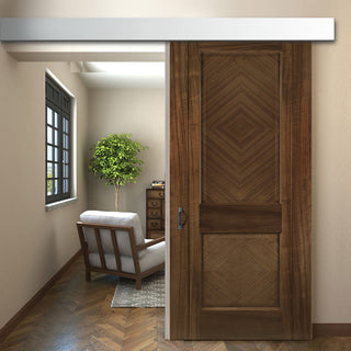 Image: Single Sliding Door & Wall Track - Kensington Prefinished Walnut Door - 2 Panels
