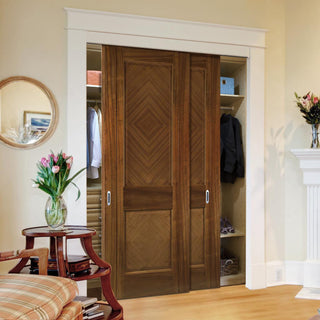Image: Two Sliding Wardrobe Doors & Frame Kit - Kensington Prefinished Walnut Door - 2 Panels