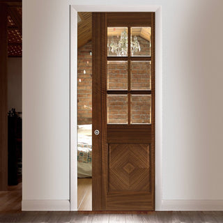 Image: Kensington Walnut Single Evokit Pocket Door - Clear Bevelled Glass - Prefinished