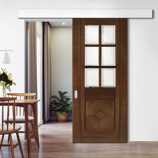 Image: Single Sliding Door & Wall Track - Kensington Prefinished Walnut Door - Clear Bevelled Glass