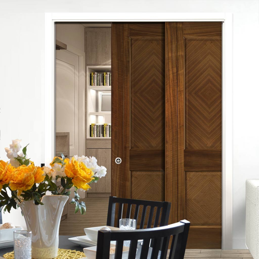 Kensington Walnut Veneer Staffetta Twin Telescopic Pocket Doors - Prefinished