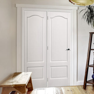 Image: ThruEasi Room Divider - Kent 2 Panel White Primed Door 686mm Side - 2018mm High - Multiple Widths