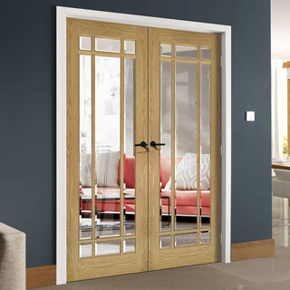 Image: Kerry Oak Door Pair - Bevelled Clear Glass - Unfinished