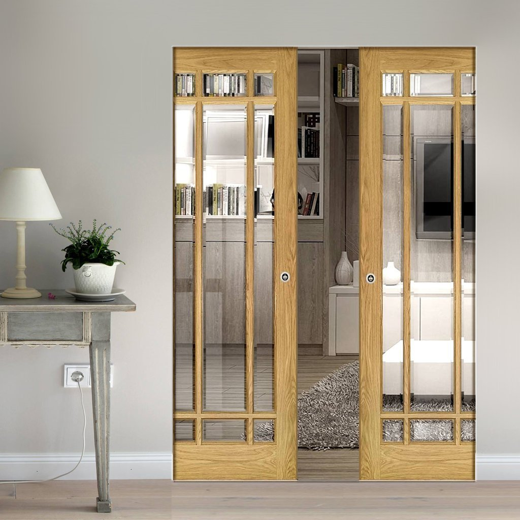 Kerry Oak Absolute Evokit Double Pocket Doors - Bevelled Clear Glass - Unfinished