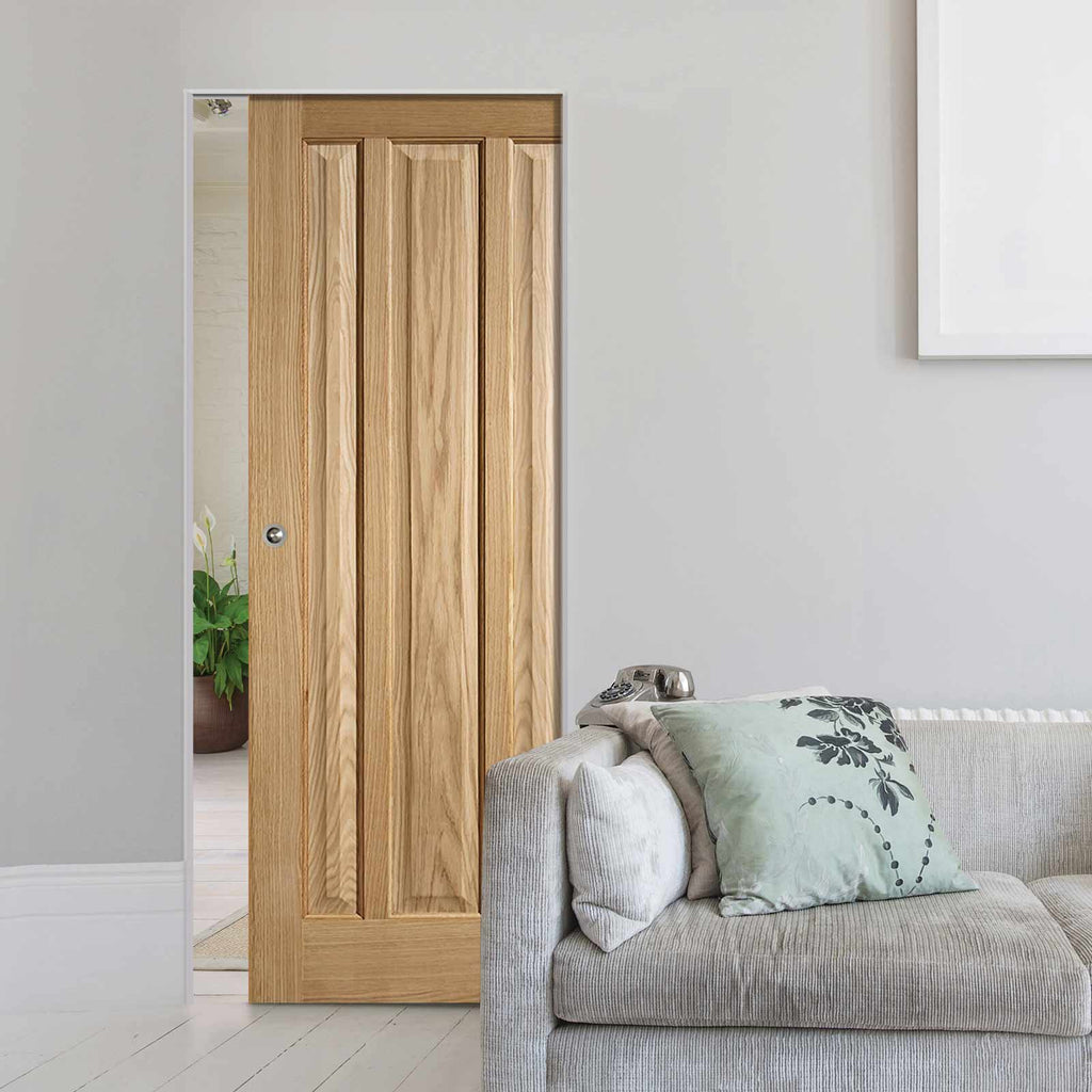 Kilburn 3 Panel Oak Absolute Evokit Single Pocket Doors