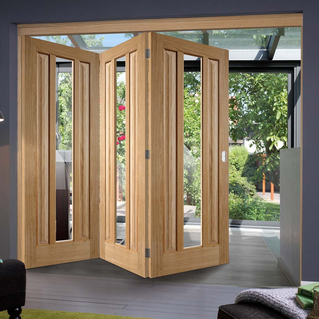 Three Folding Doors & Frame Kit - Kilburn 1 Pane Oak 3+0 - Clear Glass - Unfinished