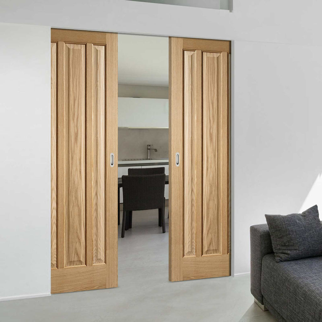 Kilburn 3 Panel Oak Absolute Evokit Double Pocket Doors - Unfinished