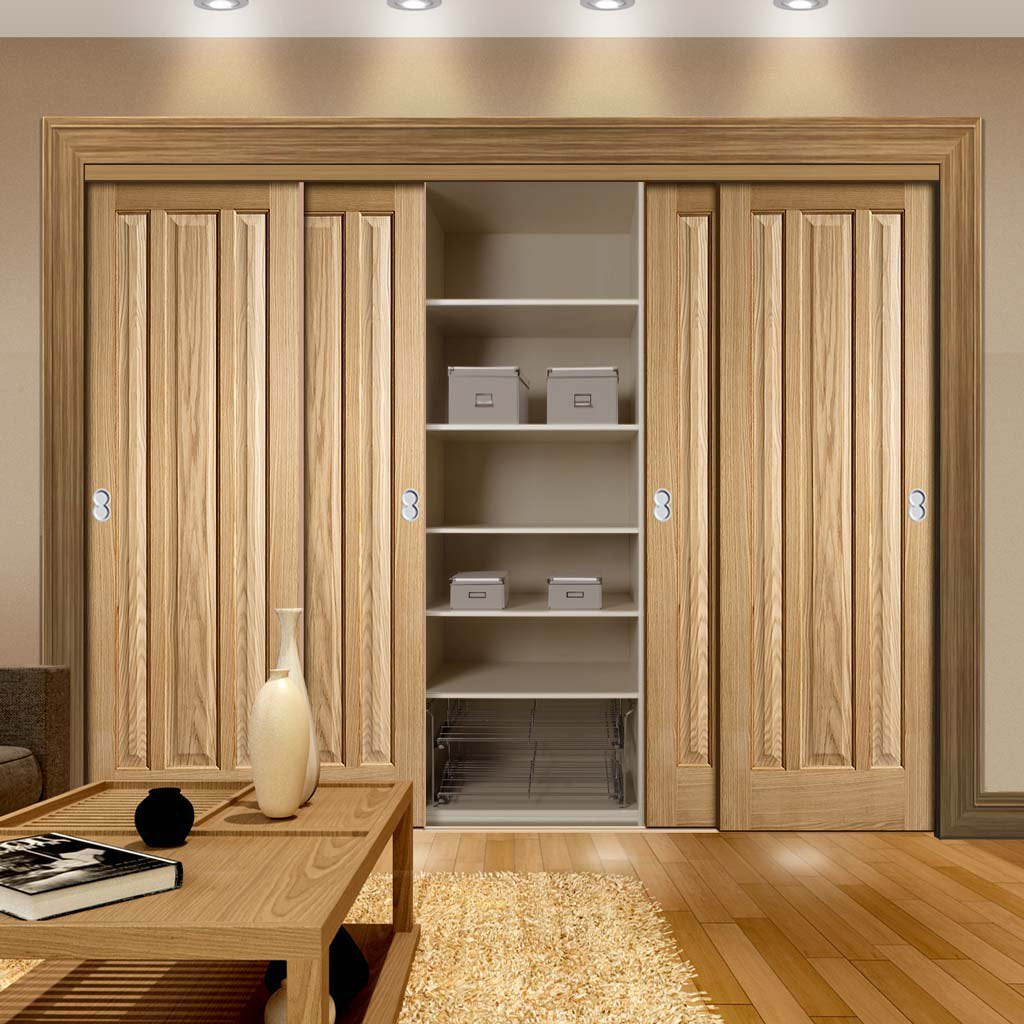 Thruslide Kilburn 3 Panel Oak 4 Door Wardrobe and Frame Kit