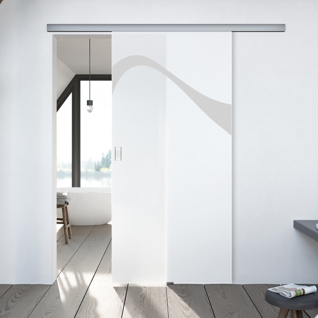 Single Glass Sliding Door - Kingston 8mm Obscure Glass - Obscure Printed Design - Planeo 60 Pro Kit
