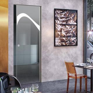 Image: Kingston 8mm Clear Glass - Obscure Printed Design - Single Absolute Pocket Door