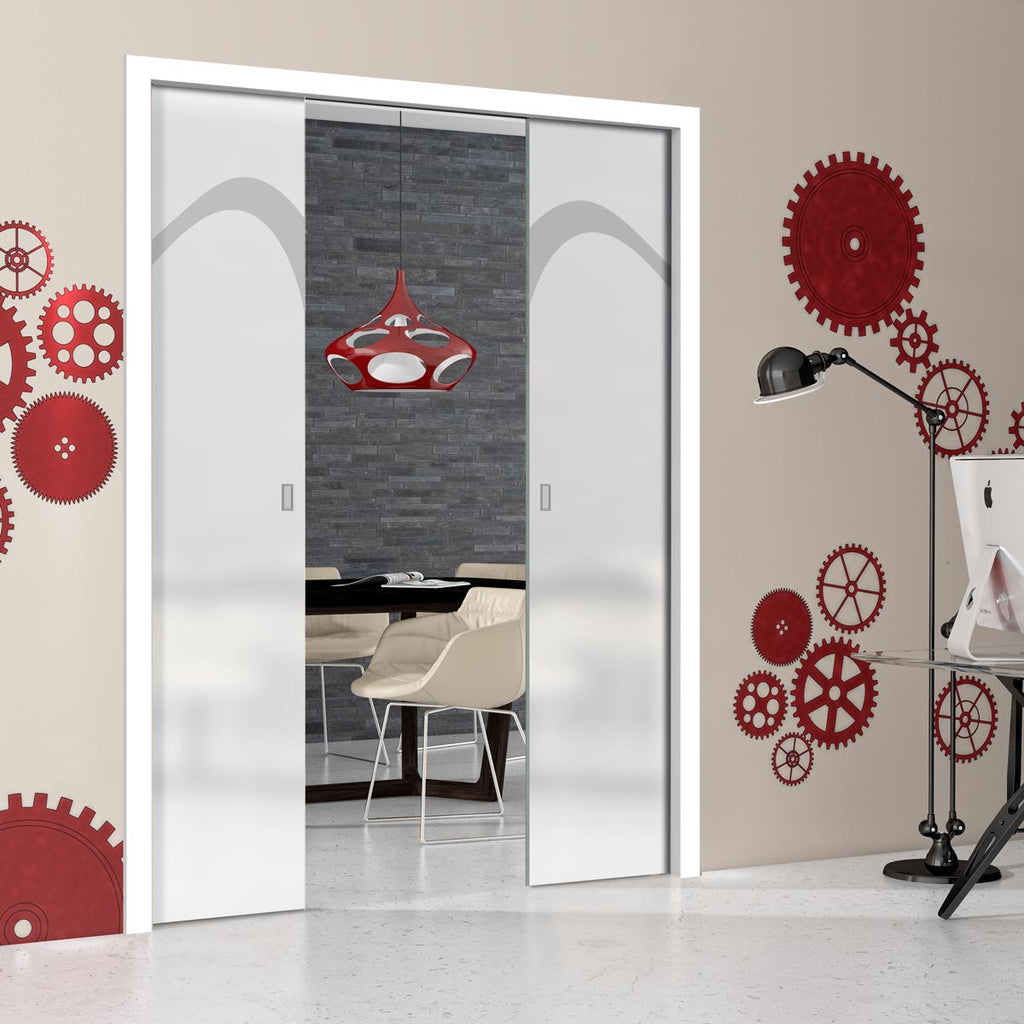 Kingston 8mm Obscure Glass - Obscure Printed Design - Double Evokit Pocket Door