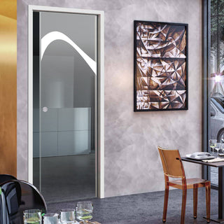 Image: Kingston 8mm Clear Glass - Obscure Printed Design - Single Evokit Glass Pocket Door