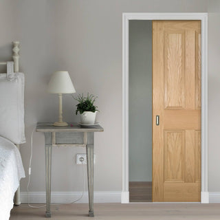 Image: Kingston oak Single Evokit Pocket Door - Unfinished