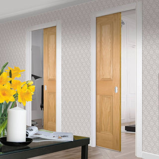 Image: Kingston oak Unico Evo Pocket Doors - Unfinished