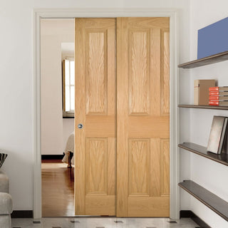 Image: Kingston Oak Veneer Staffetta Twin Telescopic Pocket Doors - Unfinished