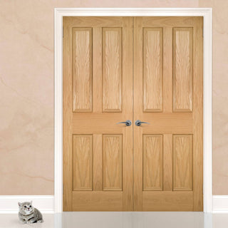 Image: Kingston oak Door Pair - Unfinished