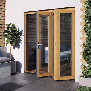 Image: JELDWEN Kinsley Golden Oak 3+0 Folding Patio Doorset - Clear Double Glazing - Stained