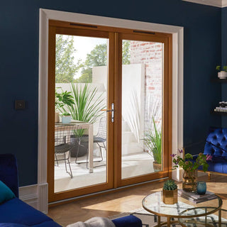 Image: JELDWEN Kinsley Golden Oak French Patio Doorset - Clear Double Glazing - Stained
